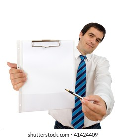 Businessman with notepad and pen showing you where to sign - isolated