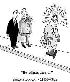 Businessman in nuclear hazardous outfit