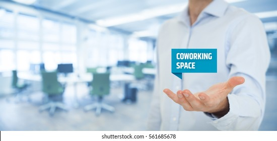 Businessman offer coworking space - modern solution of working environment for freelancers and small start-up companies.