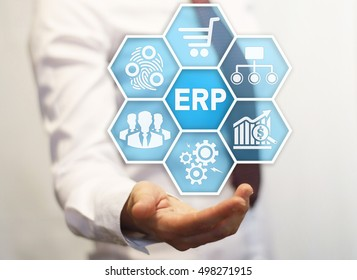 Businessman offer honeycomb button with erp. Businesswoman represent display icon with enterprise resource planning symbol. ERP sign in hexagon. Business concept, access control, internet, finance.