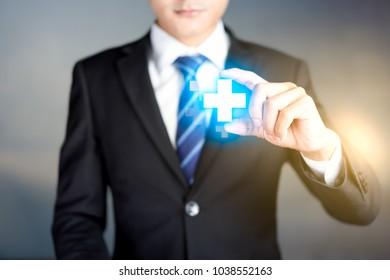 Businessman offer positive concept. Like profit, Benefits, Personal Development, Success. Represented by plus sign.