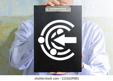 Businessman offers a clip board with proactive icon. Proactive business strategy development concept. Strategy of proactivity.
