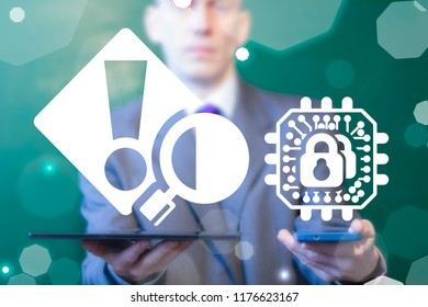 Businessman offers mobile devices with microchip padlock and exclamation attention magnifying glass icons. Cyber Data Mobile App Circuits Security Vulnerability Scan Error Debug concept.