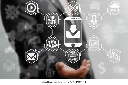 Businessman offers smart phone download concept button on virtual screen on background of business web media network icon. Smartphone arrow down sign. Internet online communication share upload sync.