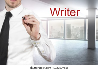 businessman in office black necktie writing writer in the air