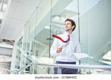 businessman in office center building