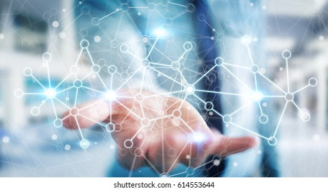 Businessman in office holding digital data network in his hand 3D rendering