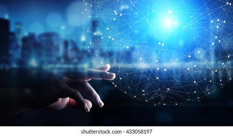 Businessman in office touching digital data network with his fingers