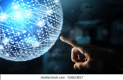 Businessman in office touching digital data network with his fingers 3D rendering