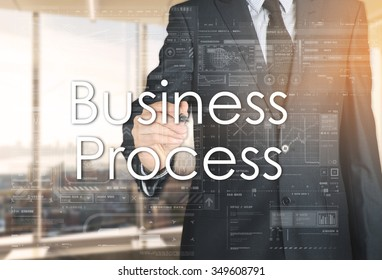the businessman in the office is writing on the transparent board: Business Process
