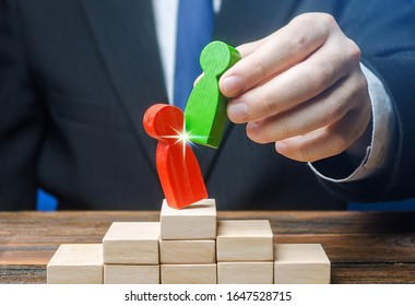 Businessman official displaces an incompetent employee with new person. Head Offset Revolution. Business optimization. Fight corruption. Change of power, capture control of business. System recovery