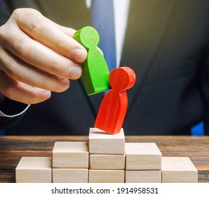 Businessman official displaces an incompetent employee with new person. Head Offset. Business optimization. Fight corruption. System recovery. Change of power, capture control of business. Revolution
