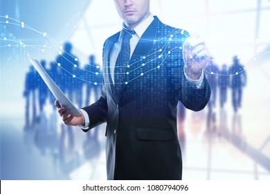 Businessman on abstract background with crowd and forex chart. Trade, meeting and finance concept. Double exposure