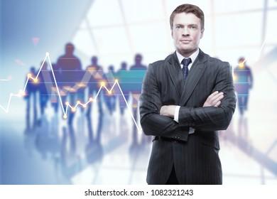 Businessman on abstract background with crowd and forex chart. Trade, meeting and profit concept. Double exposure