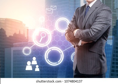 Businessman on abstract city background with digital business interface. Network and media concept. Double exposure