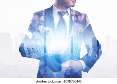 Businessman on abstract city office background. Success and executive concept. Double exposure