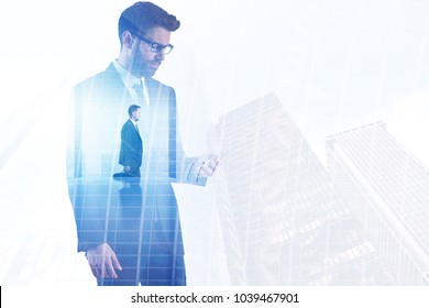 Businessman on abstract city office background. Success and communication concept. Double exposure