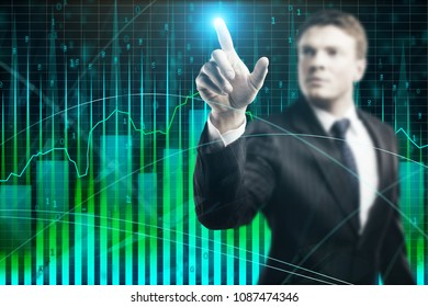 Businessman on abstract colorful forex graph. Analysis and stock concept