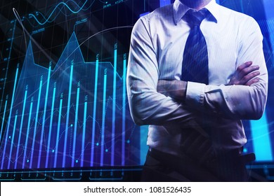 Businessman on abstract forex chart background. Finance and trade concept. Double exposure
