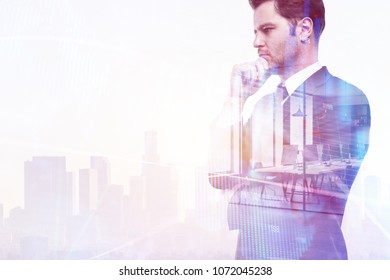 Businessman on abstract office city background with copy space. Employment and research concept. Double exposure