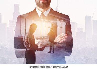 Businessman on abstract office interior background with sunlight and copy space. Success and future concept. Double exposure