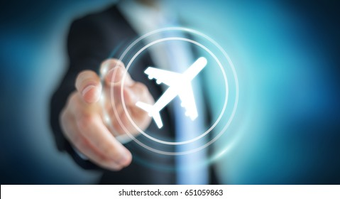 Businessman on blurred background booking his flight with modern digital application 3D rendering