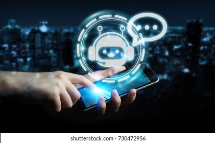 Businessman on blurred background chatting with chatbot application.
