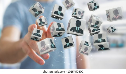Businessman on blurred background choosing candidate for a job 3D rendering