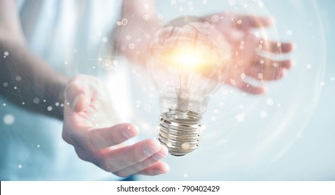 Businessman on blurred background connecting modern lightbulbs with connections 3D rendering
