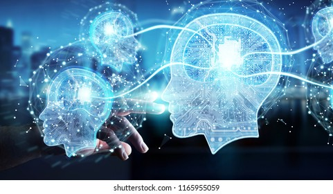 Businessman on blurred background creating artificial intelligence 3D rendering