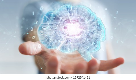 Businessman on blurred background creating artificial intelligence in a digital brain 3D rendering
