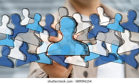 Businessman on blurred background drawing hand drawn social network with a pen