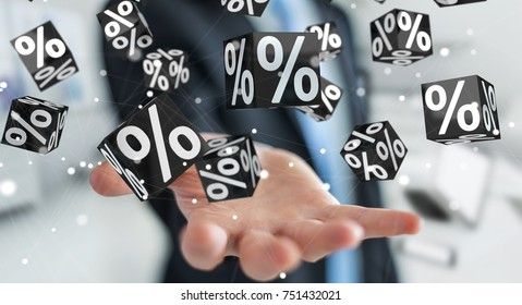 Businessman on blurred background enjoying black Friday sales 3D rendering