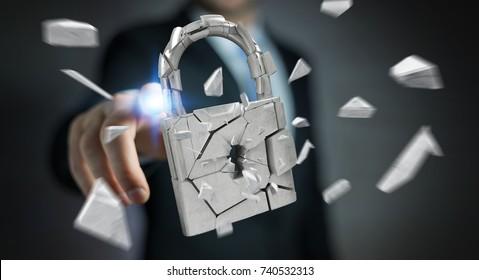 Businessman on blurred background hacking in broken padlock security 3D rendering