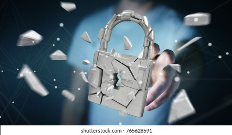 Businessman on blurred background hacking in broken padlock security 3D rendering