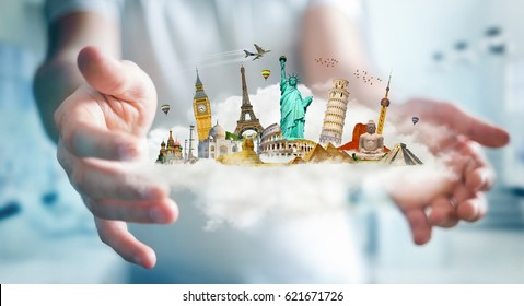 Businessman on blurred background holding a cloud full of famous monuments in his hands 3D rendering