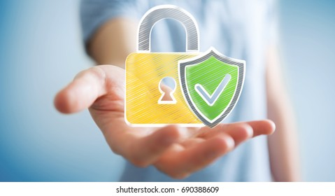 Businessman on blurred background holding a hand-drawn antivirus system