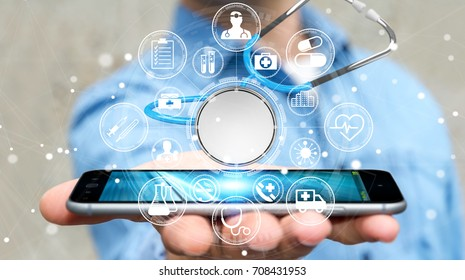 Businessman on blurred background holding and touching floating stethoscope 3D rendering