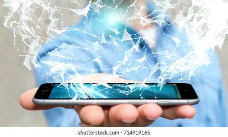 Businessman on blurred background holding flying network connection over mobile phone 3D rendering