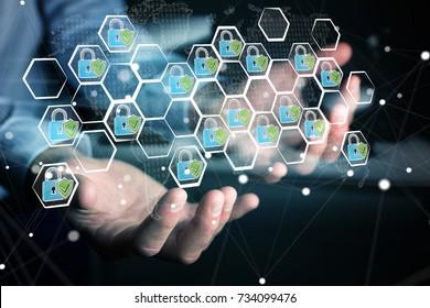 Businessman on blurred background holding a hand-drawn antivirus system