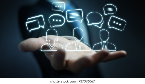 Businessman on blurred background holding discussion icons sketch