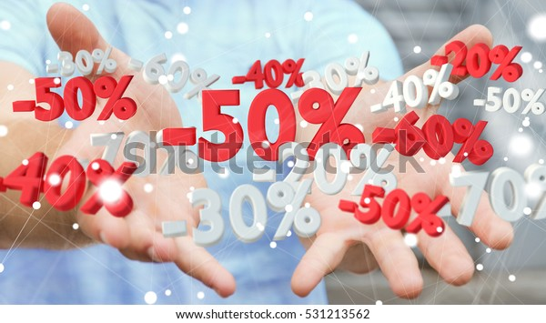 Empresario en un fondo borroso sosteniendo iconos de ventas en su representación 3D manual