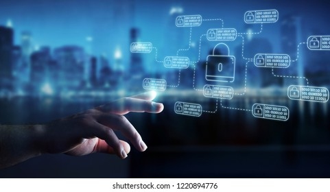 Businessman on blurred background protecting his datas with thin line security interface
