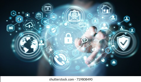 Businessman on blurred background protecting his data personal information 3D rendering