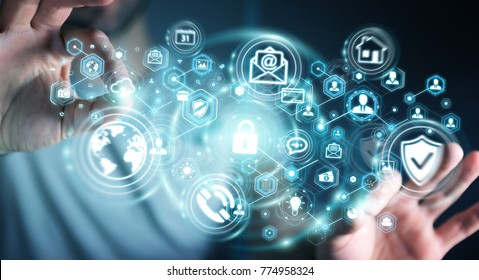 Businessman on blurred background protecting his data personal information