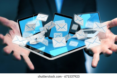 Businessman on blurred background receiving e-mails on his digital devices 3D rendering