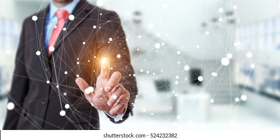 Businessman on blurred background touching flying network sphere 3D rendering