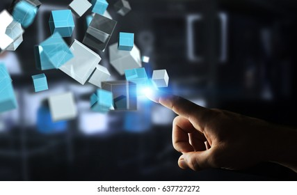 Businessman on blurred background touching floating blue shiny cube network 3D rendering