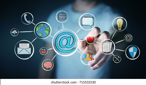 Businessman on blurred background touching multimedia hand-drawn interface