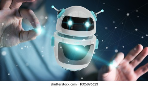 Businessman on blurred background using digital chatbot robot application 3D rendering